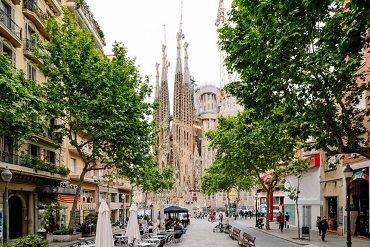 Sagrada Familia Barcelona City Street view
